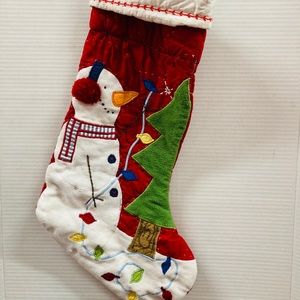 Quited handmade Christmas snowman stocking